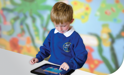 Pupil using tablet pc